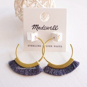 Madewell Fringe Hoop Earrings in Hematite Lurex